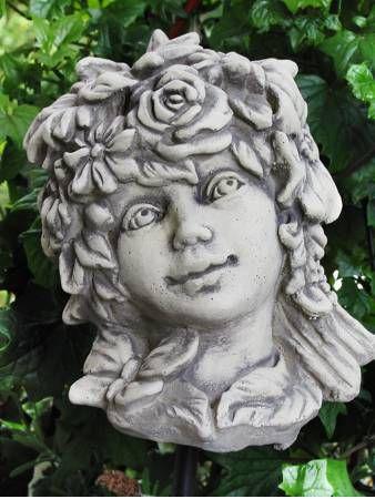 Blumenkind Sommer - Gartenfigur aus Steinguss