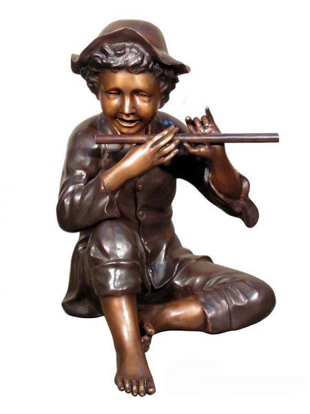 Bronzefigur Flötenspieler