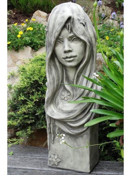 Steingussfigur Büste Moderne Romantik WINTER aus frostfestem Steinguss Vidroflor