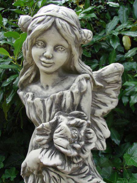 Flower Fairy Mohn - Gartenfigur Elfe Fee aus massivem Steinguss