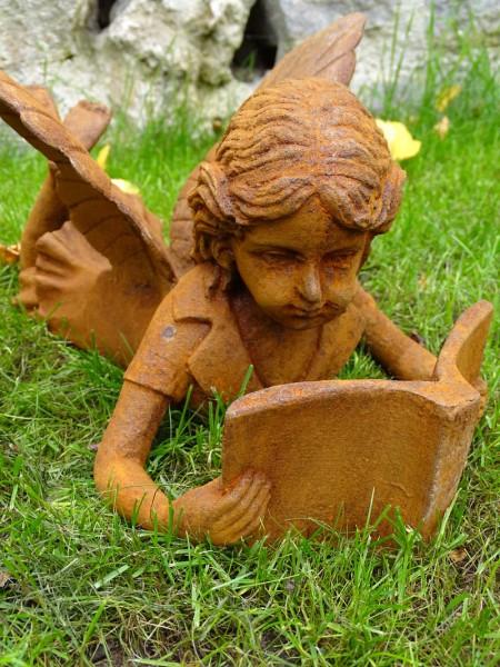 Gusseisenfigur Elfe mit Buch Antik Rost