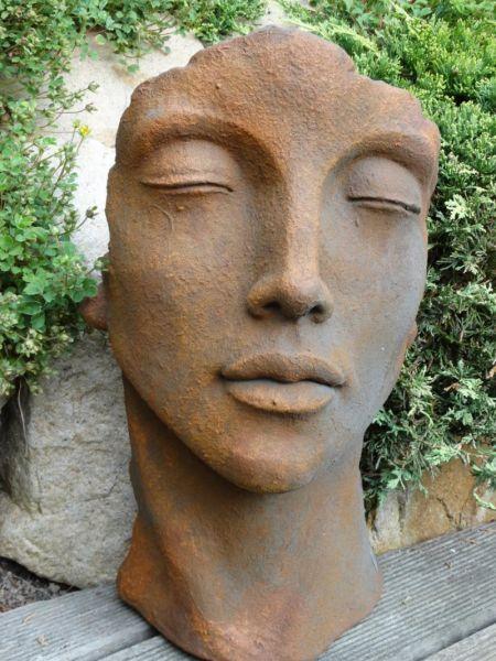 Gesicht Frau klein aus Steinguss OXID