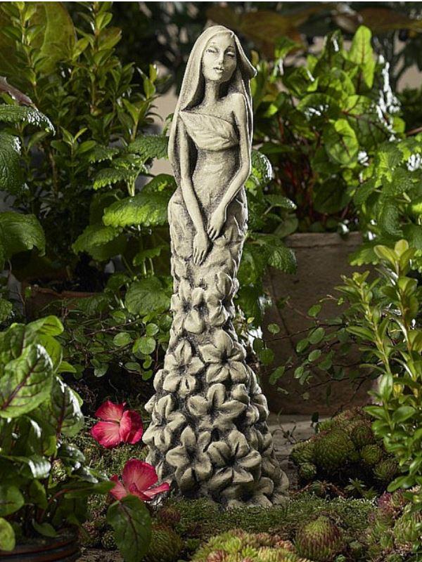 Gartenfigur bl tent nzerin rittersporn aus frostfestem for Gartenfiguren aus steinguss