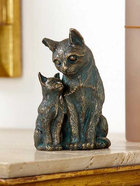 Katzen aus Bronzeguss - Schmusekatzen