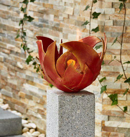 Bronze Feuerschale rot Flamme
