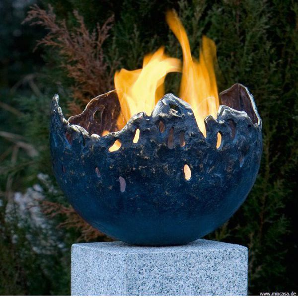 Feuerschale Bronze blau