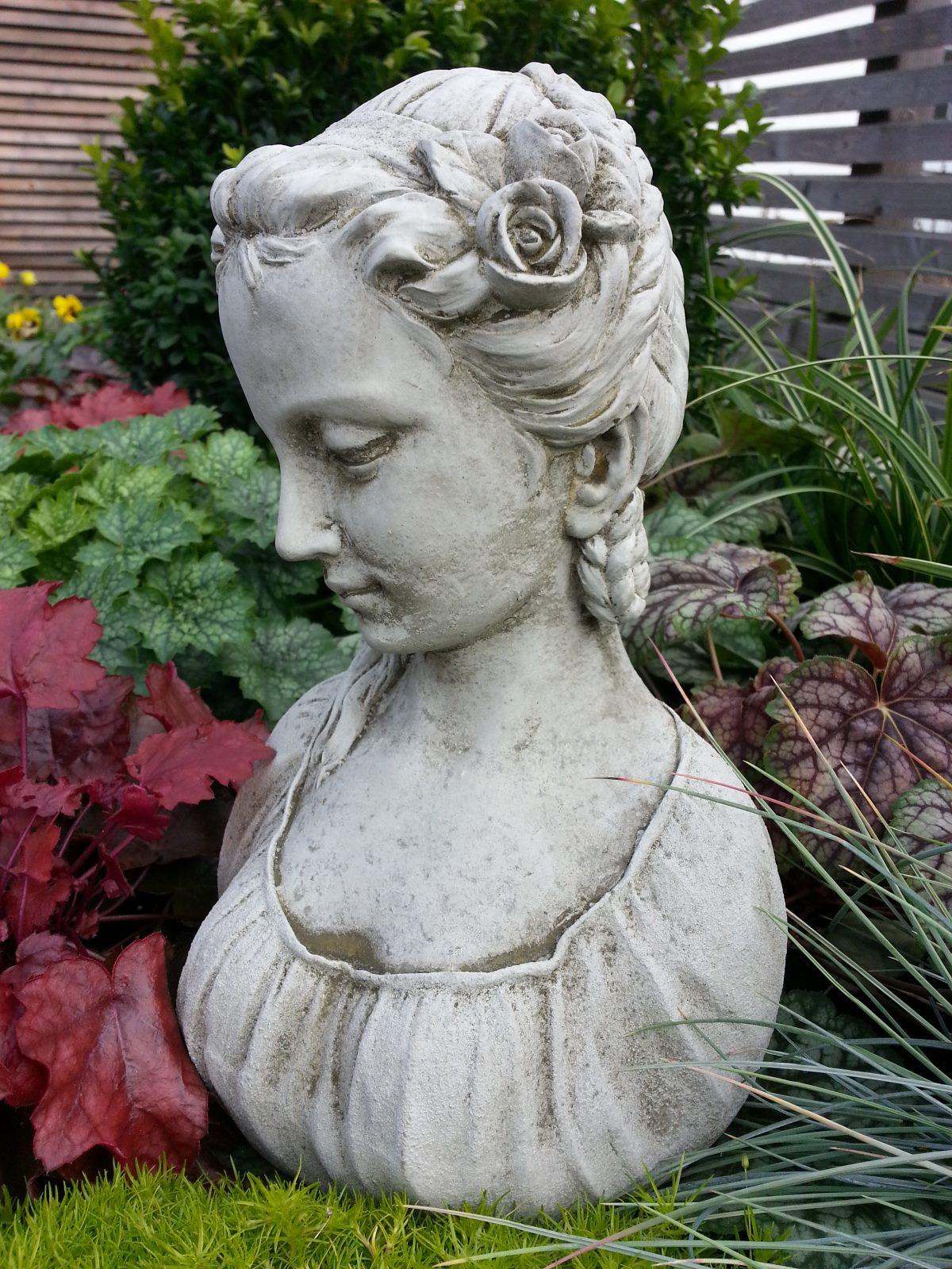 M dchen b ste melanie aus frostfestem antiksteinguss for Gartenfiguren stein