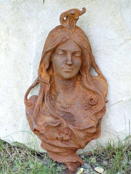 Jugendstil Eisen Frauenkopf
