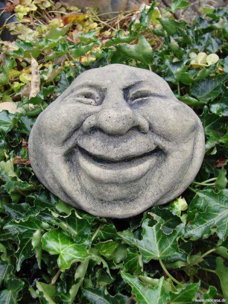 Lebender Stein lachend klein - wetterfeste Gartendekofigur