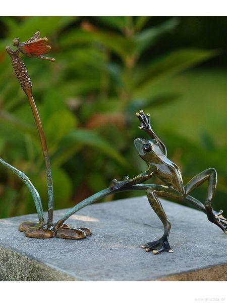 Bronzefrosch mit Libelle