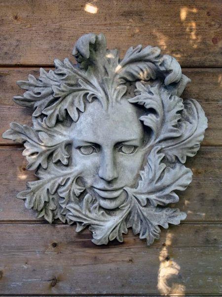 Greenman Elfengesicht Steinfigur