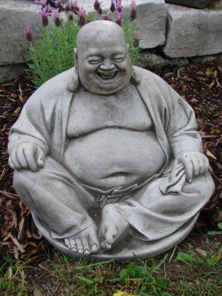 Steinfigur Happy Buddha sitzend