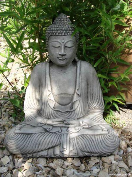 Gartenfigur Buddha meditieren aus Steinguss