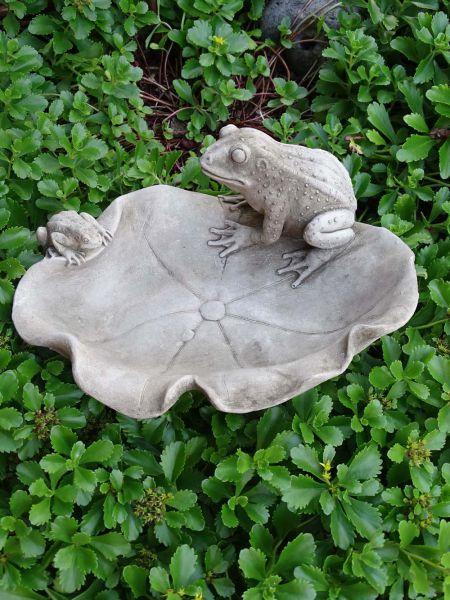 Vogelbad Frosch aus Steinguss