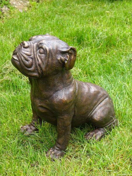 Französische Bulldogge Bronzefigur