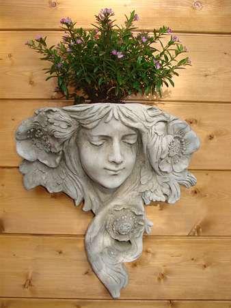 Wand Vase Gesicht aus Steinguss mit Wandaufhängung