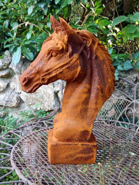 Pferdekopf aus Gusseisen Naturrost
