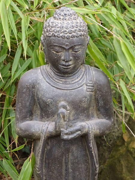 Steinfigur Buddha stehend Rad der Lehre