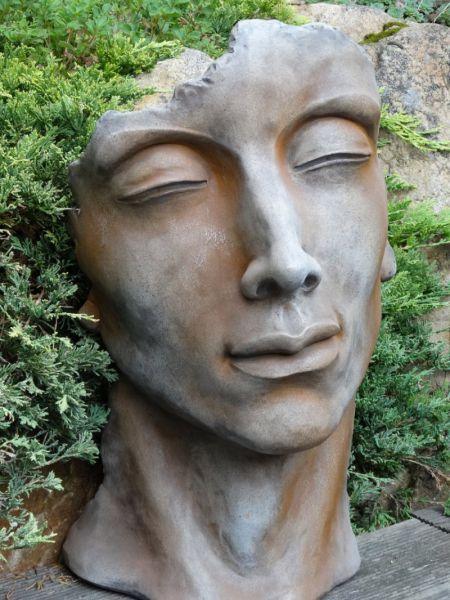 Gesicht Mann klein aus Steinguss Rosteffekt
